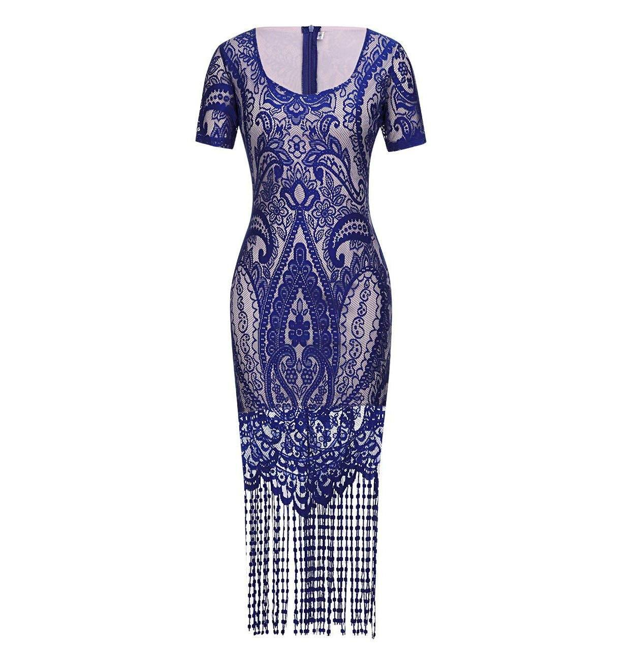Blue Great Gatsby Themed 1920s Flapper Dress Roaring 20s