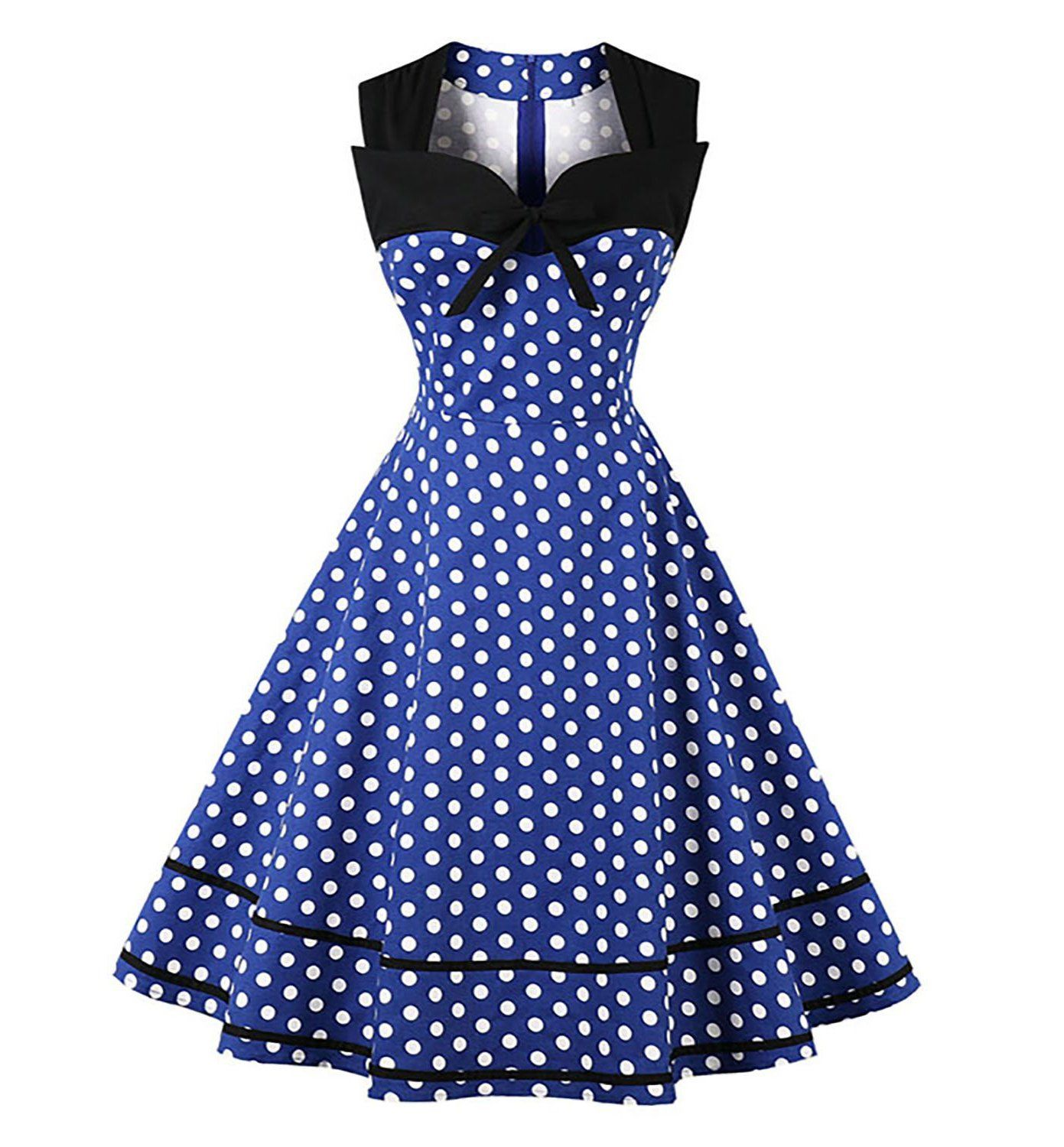 Polka Dot Retro Vintage Style Cocktail Party Swing Dress