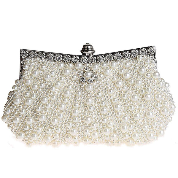 1920's Full Beaded Vintage Pearls Evening Clutch Handbag for Women