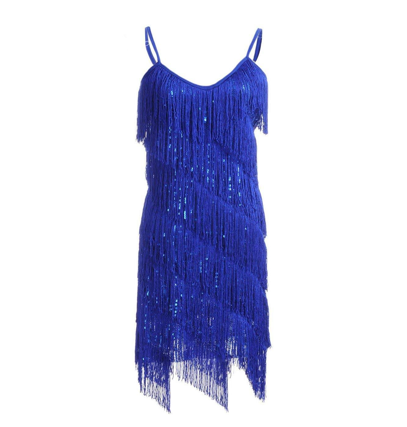 Fringe Sequin Strap Backless 1920s Flapper Mini Dress Blue