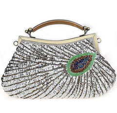 Women's Retro peacock Beaded Wedding Sequin Evening Bags