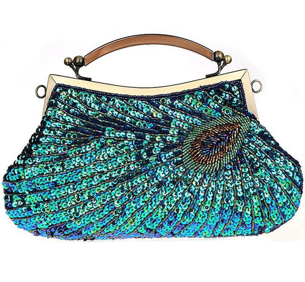 Retro Exquisite Peacock Pattern Beaded Evening Party Handbag