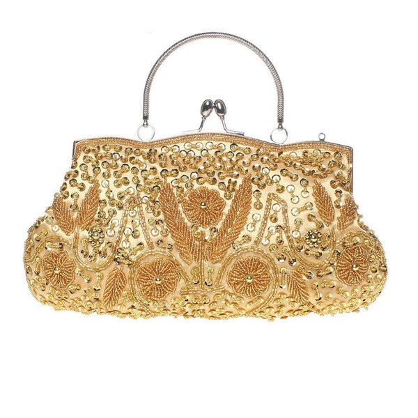 Fashion Beaded Handbag Kissing Lock Bag Satin Evening Clutch