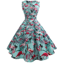Flamingo Print Vintage Dresses for Women 1950s