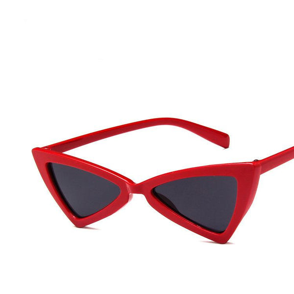 Retro Super Skinny Narrow Cat Eye Sunglass High Pointed Triangle Glass