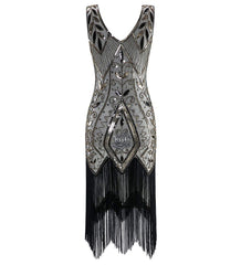 Champagne 1920s Inspired Great Gatsby Dress Peony Print Evening Party