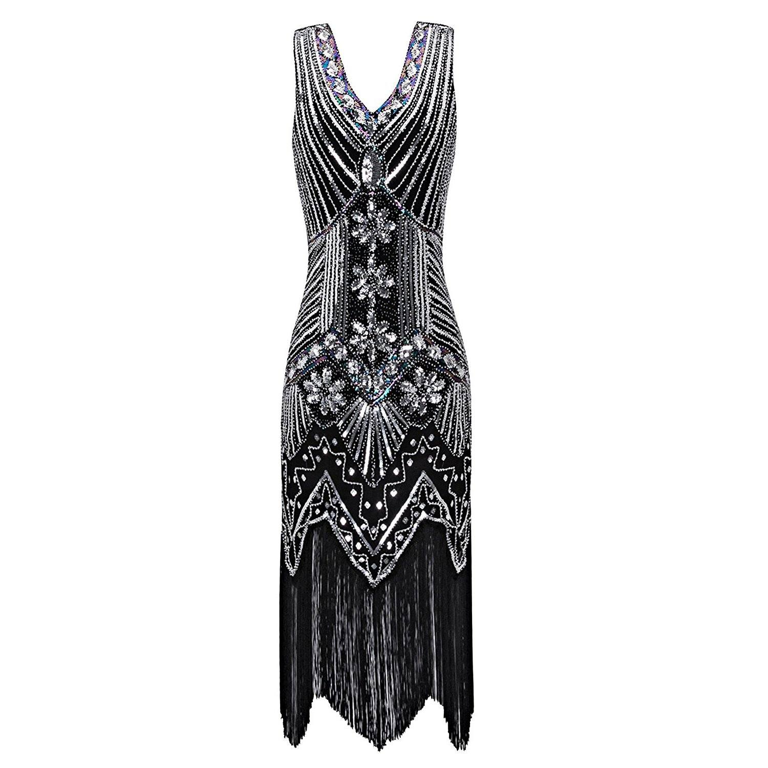 Retro Black Silver Flapper Dress Great Gatsby Theme Party