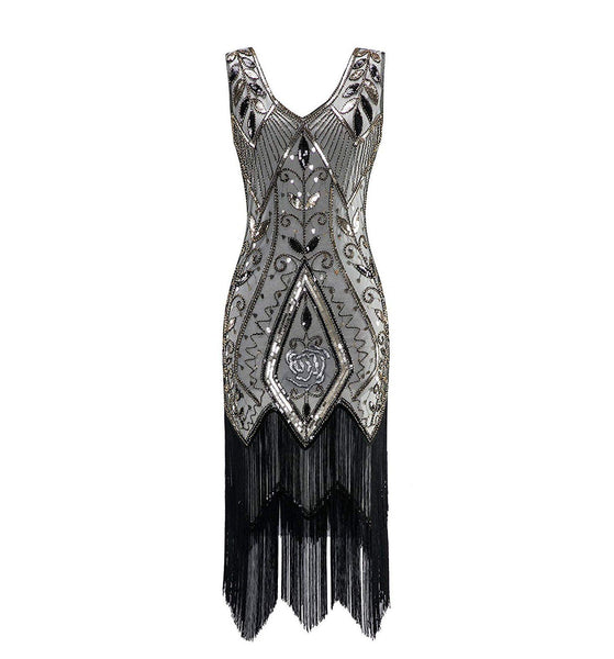 Champagne 1920s Inspired Great Gatsby Dress Rose Print Evening Party