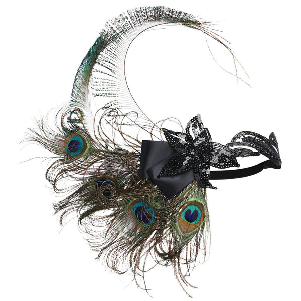 1920s Flapper Headband Great Gatsby Peacock Headpiece