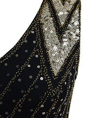 1920s Flapper Dress Gold Sequins Black Tassel Fringes Gatesby Party