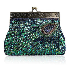 Beaded Sequin Peacock Clutch Evening Handbag|JaosWish