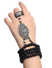 Bracelet Ring Set Hand Chain 1920's Accessories Black