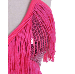 Fringe Sequin Strap Backless 1920s Flapper Mini Dress Rose Red