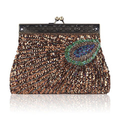 Peacock Tail Vintage Clutch Bags for Women Sequins Beaded