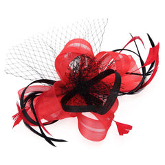 Fascinator Hat Feather Mesh Net Veil Party Hat Flower Derby with Clip