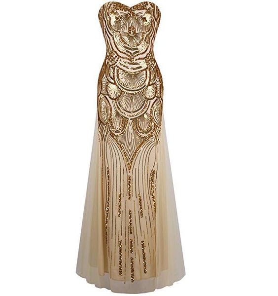 Women's 20s Style Shining Long Flapper Dress Gatsby Attire Gold