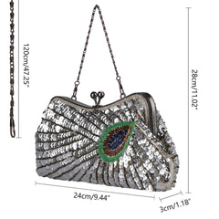 Women's Noble Peacock Sequin Handbag