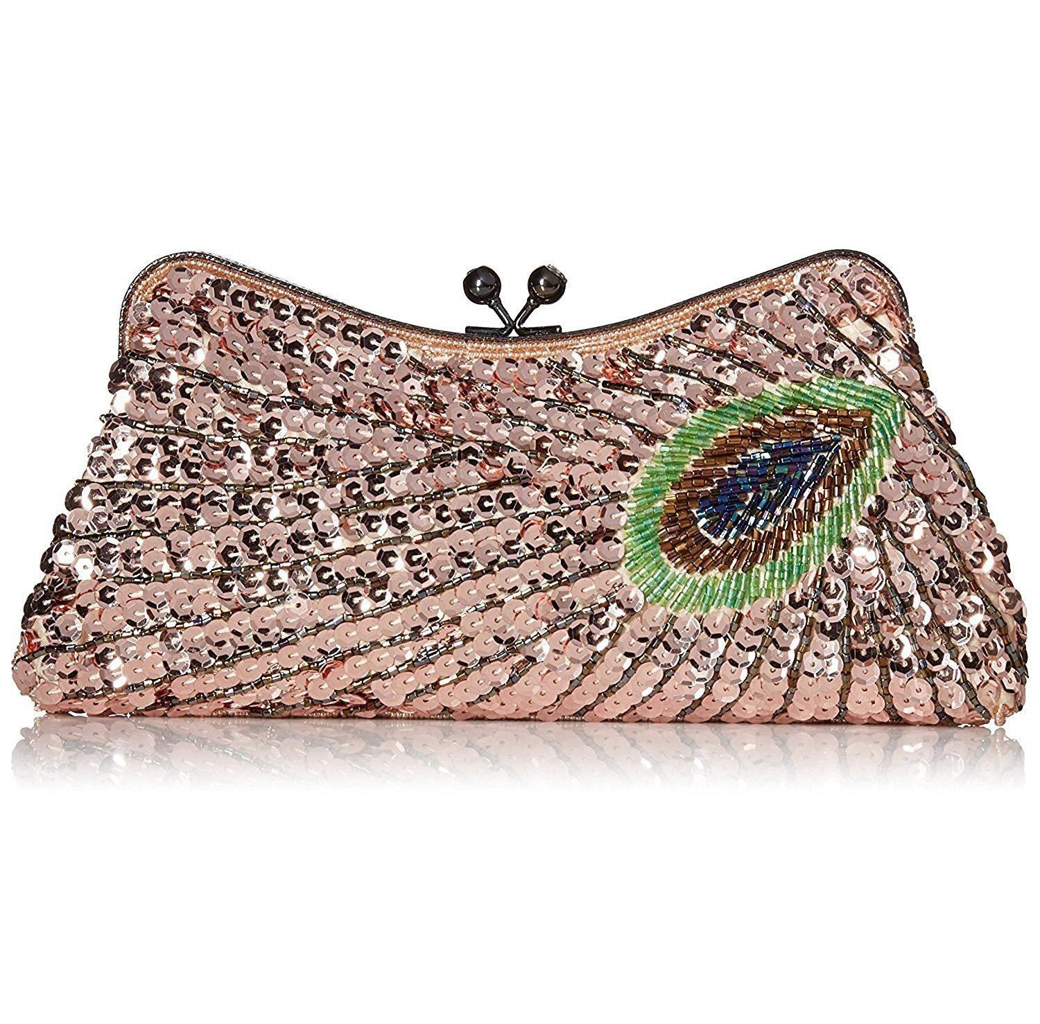Woman Handbag Beaded Clutch Peacock Sequin Evening Bag Champagne