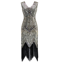 Retro 20s Style Flapper Dress Great Gatsby 1920's Night Champagne