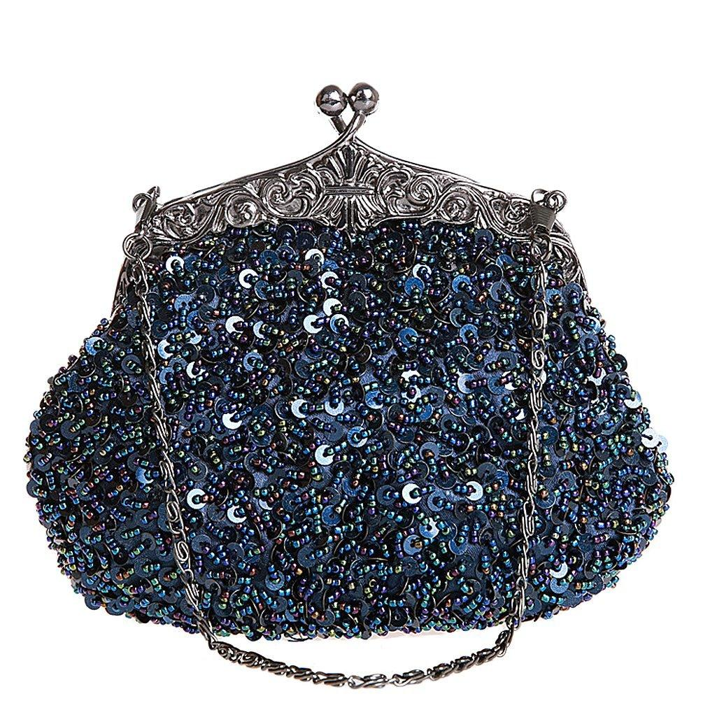 Vintage Kissing Lock Sequins Beaded Evening Party Purse