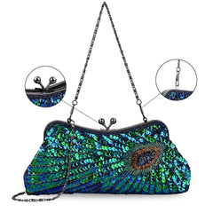 Women's Vintage Beaded Sequin Peacock Purse Evening Bags