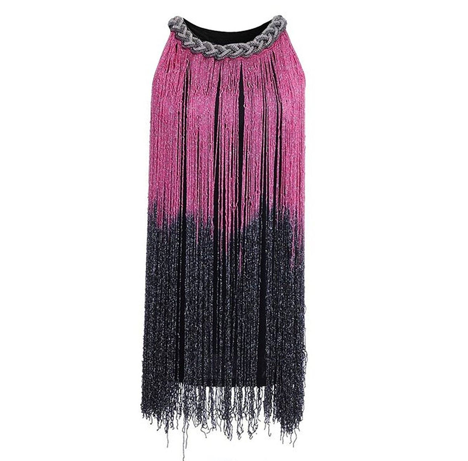 1920s Gatsby Long Swinging Fringe Tassel Flapper Dress