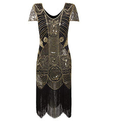 Gold Sequin Flapper Dress Great Gatsby 1920s Women's Clothing