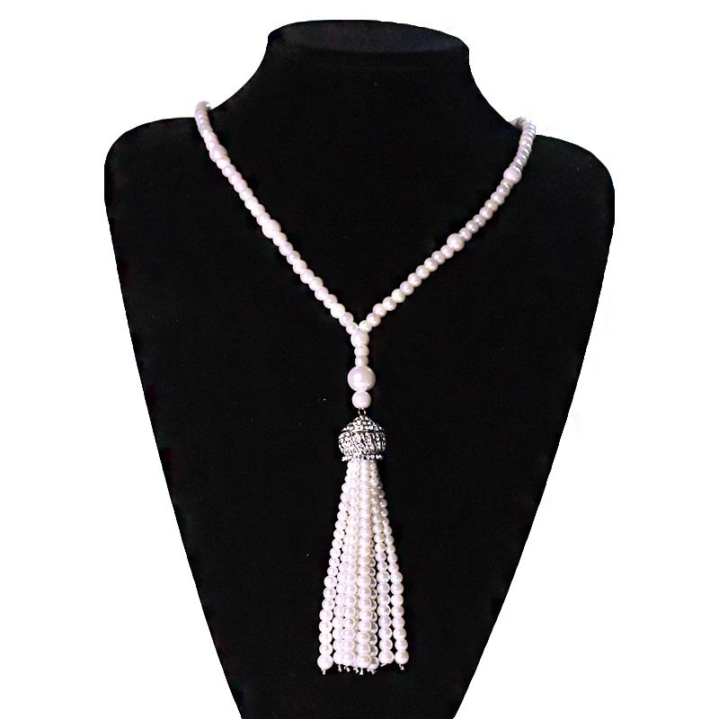 Faux Pearl Necklace Great Gatsby Accessories Flapper Beads Tassel Long Necklace
