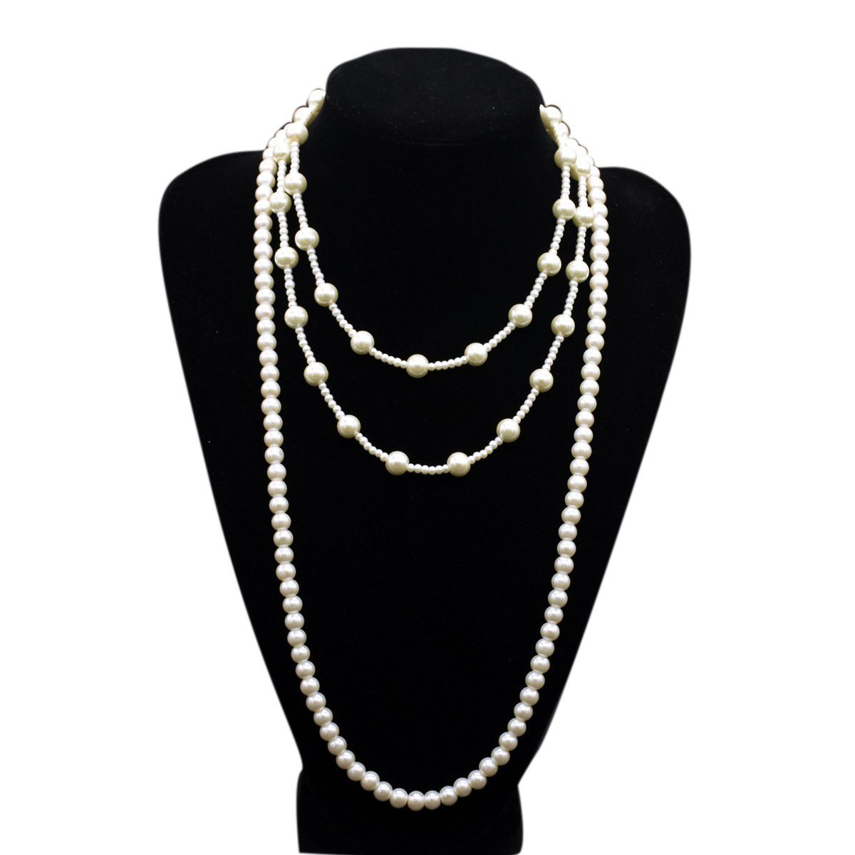 1920s Pearls Necklace Gatsby accessories Vintage Costume Jewelry Faux Ivory Pearl Cream Long Necklace