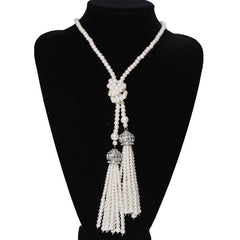 Women Fashion Faux Pearl Tassel Pendant Long Necklace