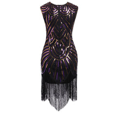 1920s Vintage Flapper Fringe Beaded Great Gatsby Party Dress