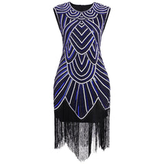 Women 1920s Art Deco Sequin Flapper Tassel Gatsby Dress