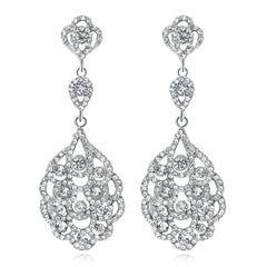 Women's Clear Vintage Style Wedding Floral Chandelier Dangle Earrings Silver Tone