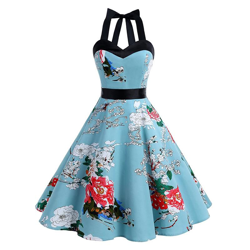 Floral Blue Vintage Dress Retro Cocktail Dresses 1950s Rockabilly