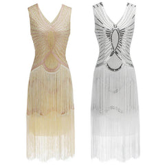 White Gatsby Themed Dress 1920s Art Deco