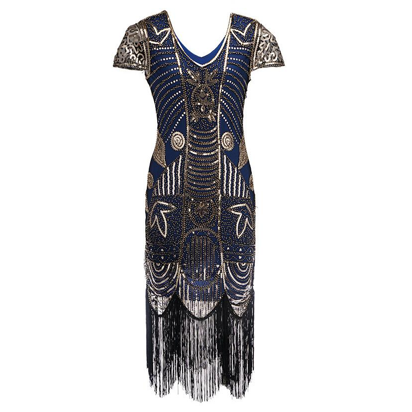 1920s Style Navy Gold Sequin Flapper Dress Great Gatsby