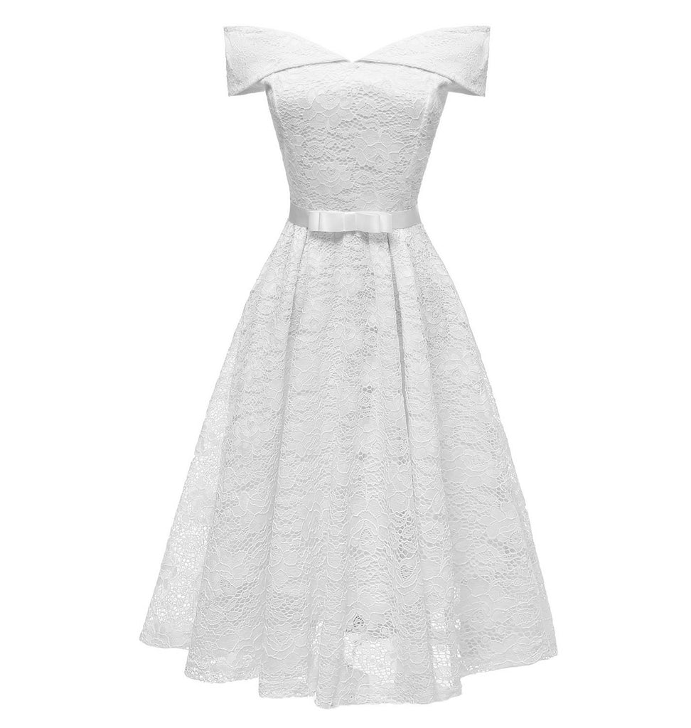 1950s White Off the Shoulder Dress