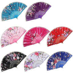 8PCS Vintage Retro Fabric Fans Folding Hand Held Bulk for Women