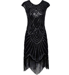1920s Flapper Dress Silver Sequins Great Gatsby 20s Style Wedding Party |JaosWish