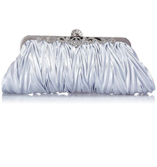 Satin Pleated Evening Cocktail Party Handbag Clutch Purse