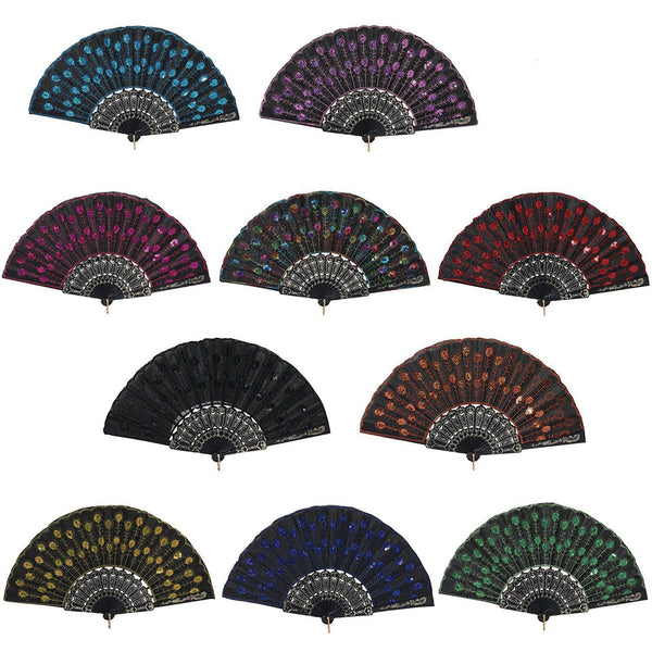 10pcs Vintage Folding Hand Fan Embroidered Sequins Handheld Folding Fan