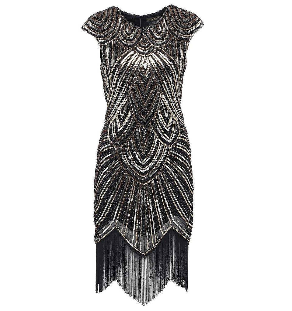 9a4380839ce1 1920s Style Beaded Fringe Great Gatsby Dresses Flapper Party Black Gold |JaosWish