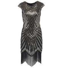 1920s Style Beaded Fringe Great Gatsby Dresses Flapper Party Black Gold|JaosWish