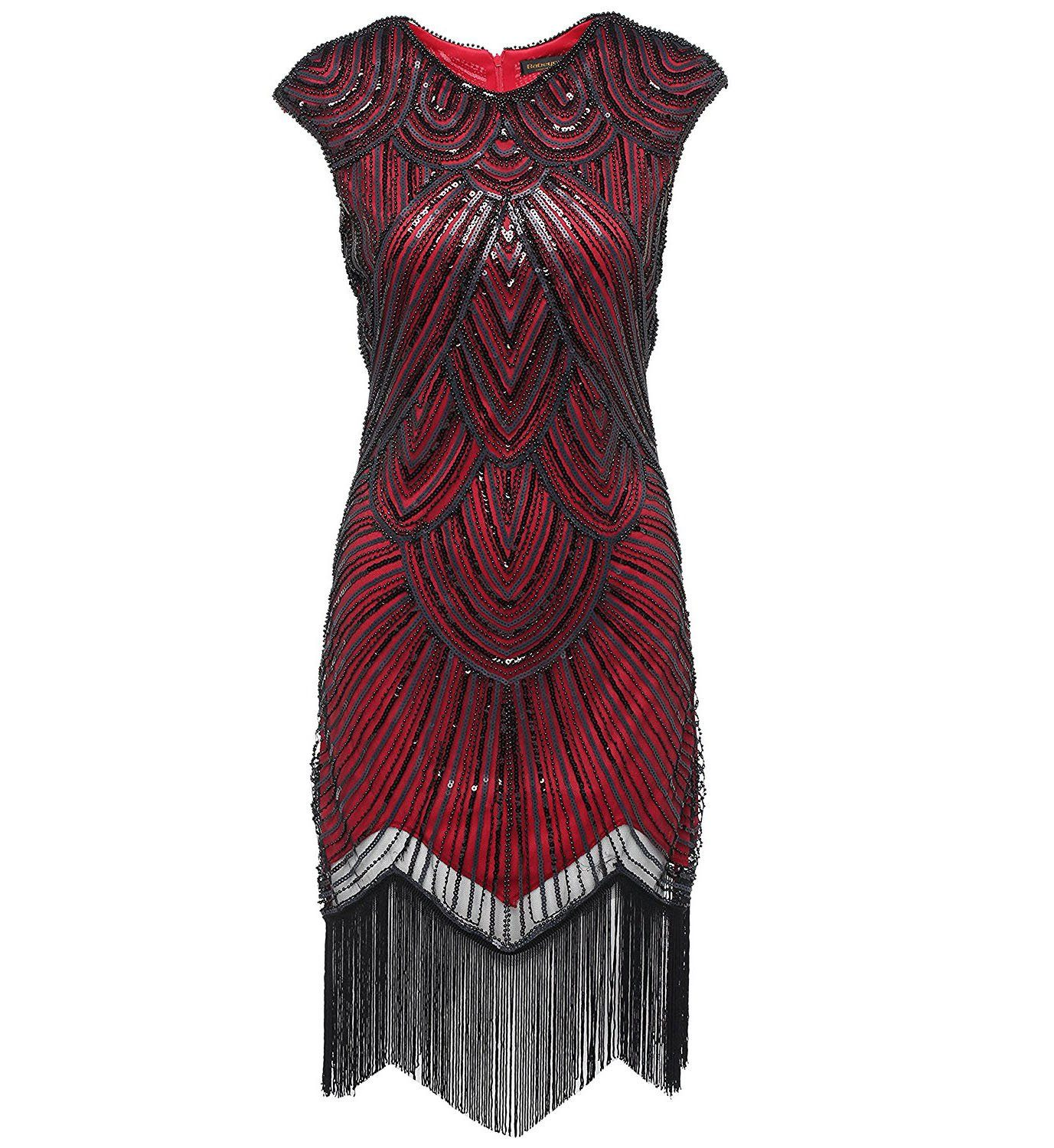 1920s Style Wine Red Sequin Great Gatsby Dresses Peaky Blinders Theme Party|JaosWish