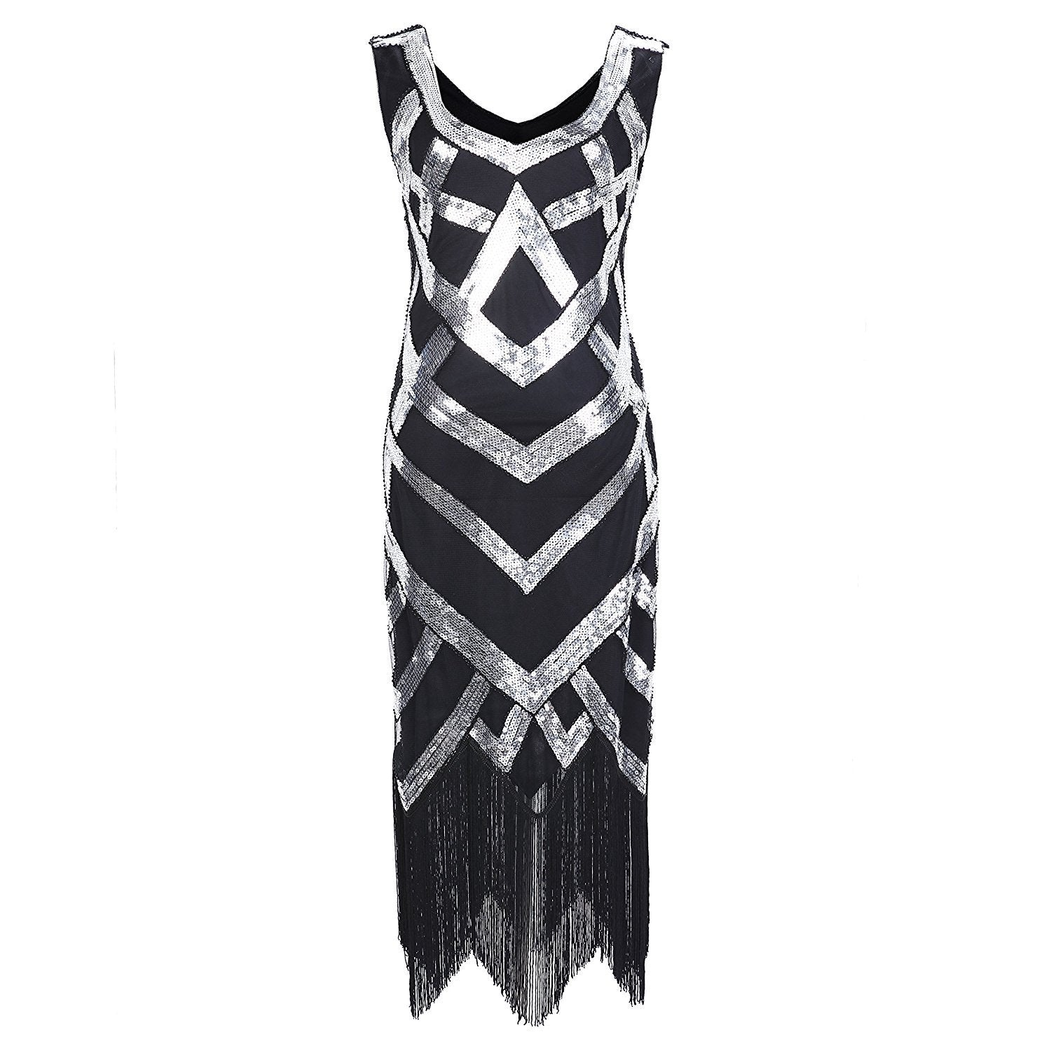 1920s Style Sequined Silver Fringe Flapper Dress