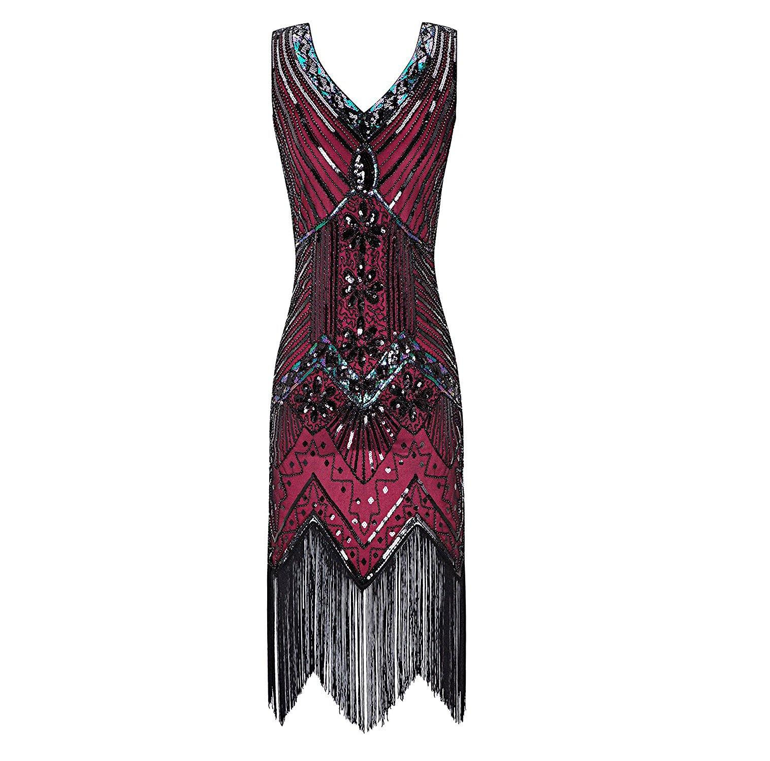 Wine Red 1920s Flapper Gatsby Dress 20's Themed Party