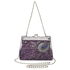 Beaded Sequin Peacock Clutch Handbag