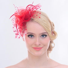 Mesh Face Dot Veil Feather Fascinator Hair Clip
