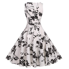 Vintage 1950's Floral Spring Garden Party Dress Cocktail Dress with Belt