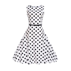 White Polka Dot Dress 1950s Women's Fashion Large Vintage Cocktail Dresses